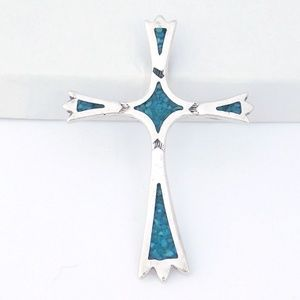 Jewelry - Southwest Sterling Silver Cross Pendant Turquoise